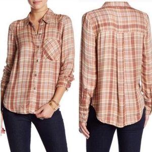Free People Joplin Plaid Button Down Soft Shirt